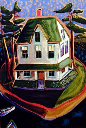 Alison Goodwin - Summer House serigraph of a house on a lake