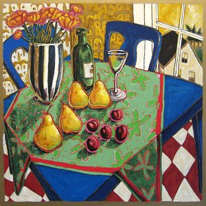 Alison Goodwin Upstairs serigraph of table with fruit, wine, and vase of flowers