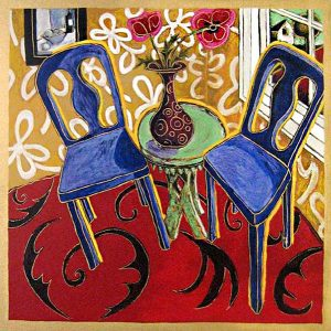 Alison Goodwin Two Blue Chairs serigraph of chairs on a red carpet next to table with vase of flowers