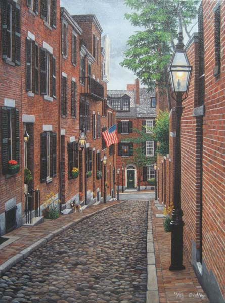 Phil Gidley - Acorn Street print of neighborhood of brick houses cobblestone roads