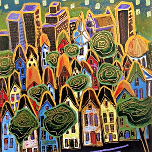 Alison Goodwin Serigraph of Colorful Neighborhood with Trees