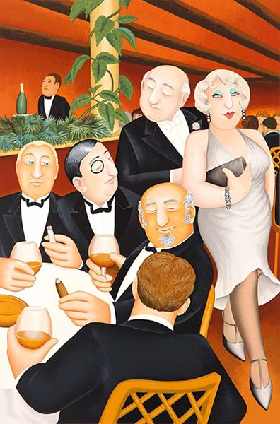 Beryl Cook - The Baron Entertains print of well dressed man and woman passing a table with other well dressed men
