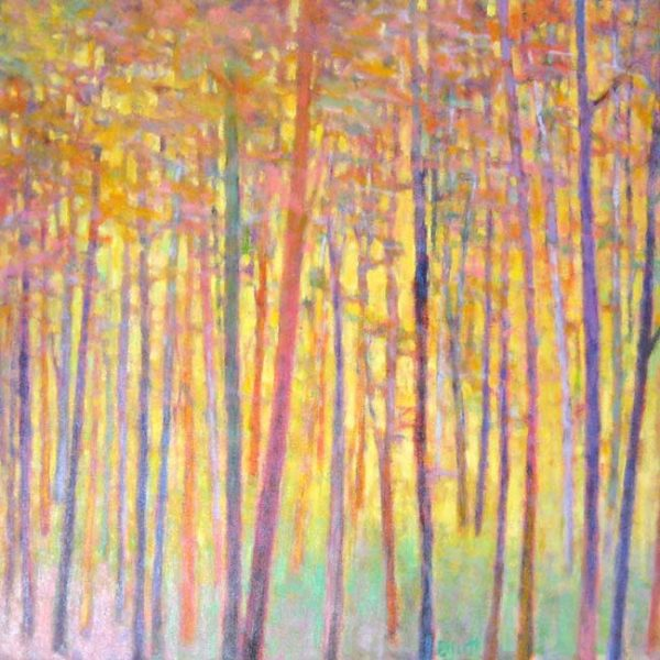 Ken Elliott Contemporary Oil Painting of Birch Aspen Trees of Colorado in Pink and Yellow