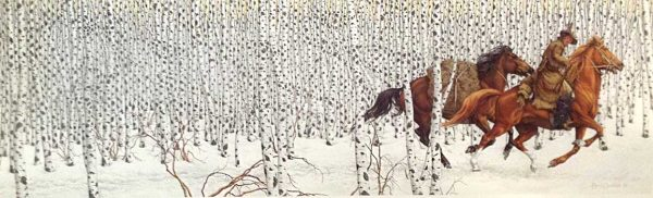 Bev Doolittle - Sacred Ground print of a rider with two horses running through birch trees
