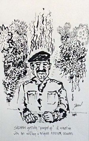 Jerry Garcia - Sadaam Hand signed limited edition litho print of Saddam Hussein sitting