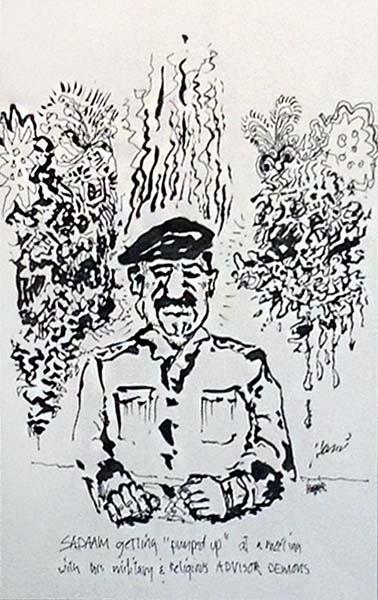 Jerry Garcia - Sadaam Hand signed limited edition litho print of Saddam Hussein sitting
