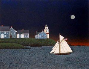 Ted Jeremenko - Safe Return print of sailboat on water and moon