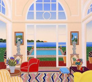 Thomas McKnight - Sag Harbor print of sitting room overlooking pool and ocean