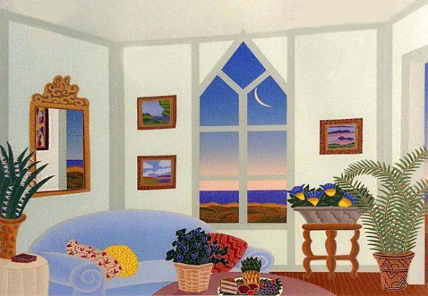 Thomas McKnight - Sagaponack print of sitting room overlooking water
