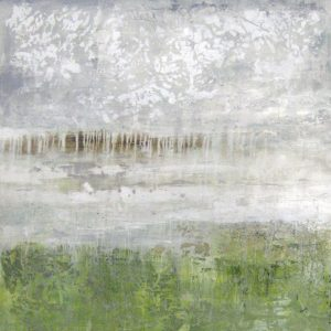 Alexys Henry Contemporary Abstract Oil on Canvas Painting of Sage Grass Green and White Cloud Sky