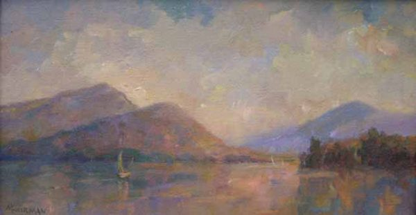 Painting of Lake George with mountains
