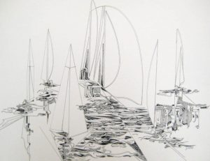 Gary Smith Black and White Pen and Ink Abstract Sailboat Drawing on Paper