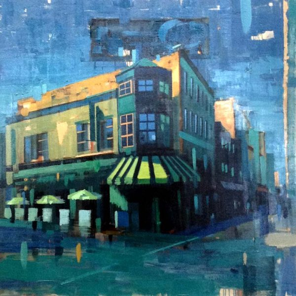 Kevin Kusiolek Oil Painting of Salem Street Boston in Blues and Greens Black