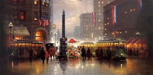 G Harvey - San Francisco - Market St print of city with people and trolleys and a monument and American and French flags