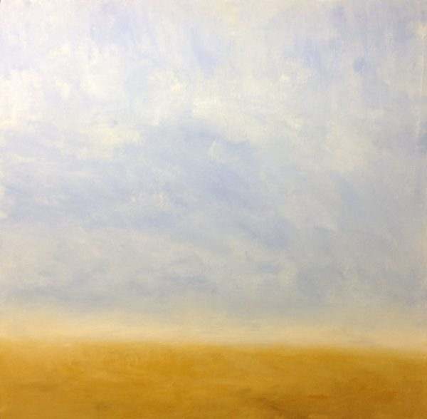 Leah Mitchell contemporary painting of sandy beach with clouds