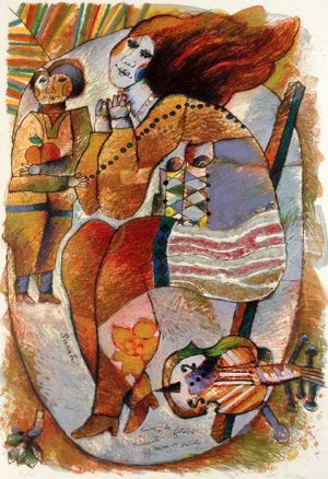 Theo Tobiasse - Sarah judaica print of woman and cello