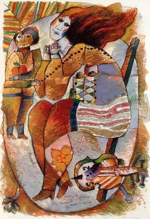 Theo Tobiasse - Sarah judaica print of woman and cello