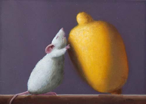 Stuart Dunkel Saving Lemon (5x7 oil on board) painting of mouse