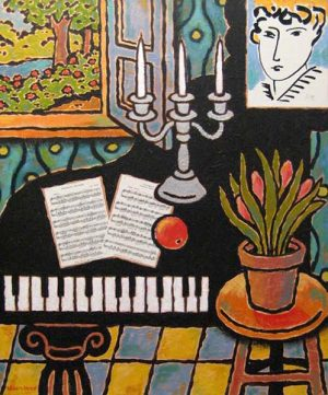 William Arden painting of piano and painting in room with window that shows garden