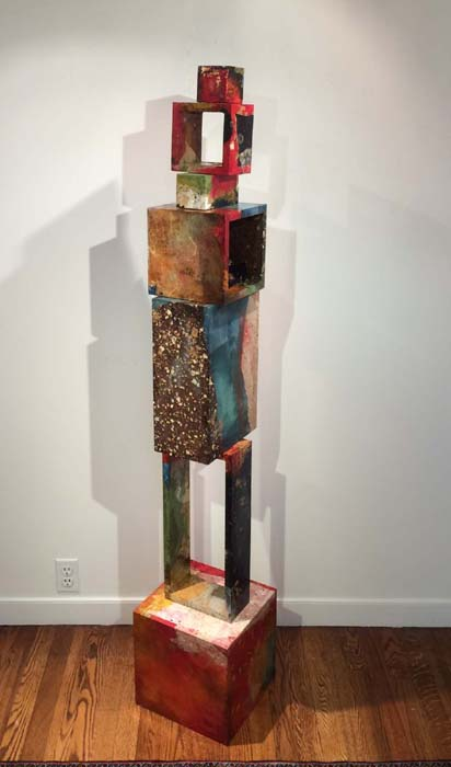 Paul Tiersky Colorful Abstract Mixed Media Sculpture on Board