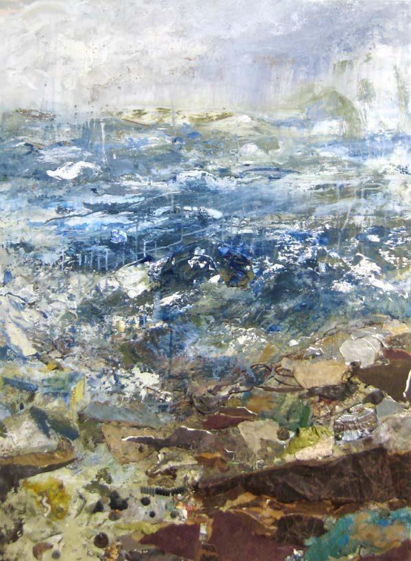 Brenda Cirioni Collage on Board of Abstract Ocean Seaside Horizon