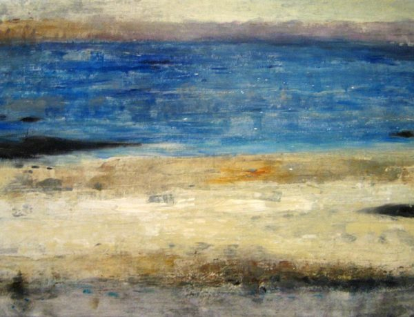 Timothy O'Toole Painting of Abstract Blue and Sand Seascape