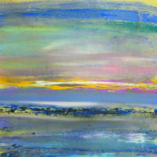 Helen Zarin Abstract Seascape with Blue Yellow Green and Pink Horizon