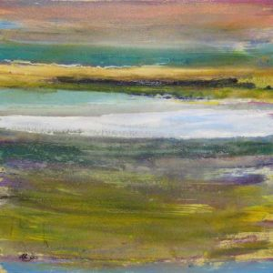 Helen Zarin Abstract Seascape with Green Pink and Yellow Blue Lines
