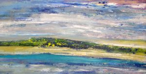 Helen Zarin Horizontal Abstract Oil Painting of A Land or Seascape