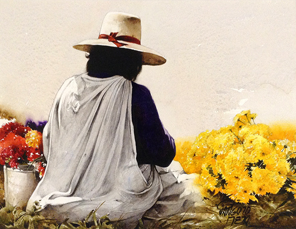 Luis Pantigozo In a Sea of Color watercolor painting of person sitting among flowers