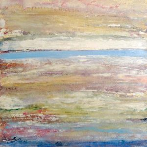 Helen Zarin Oil on Canvas of Abstract Seascape with Blue Green Pink Beige White Red Orange Gold