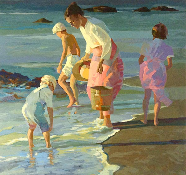 Don Hatfield - Searching for Shells print of a woman and three children with feet in water at shoreline