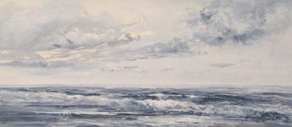 Watercolor of an ocean on a cloudy day
