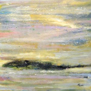 Helen Zarin Abstract Oil Painting on Canvas with Seascape Horizon at Sunset