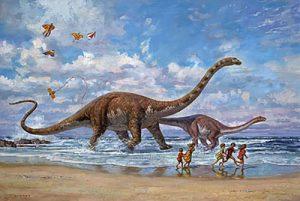 James Gurney - Seaside Romp print of brontosaurus and children playing at beach