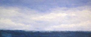 Leah Mitchell Seaside Views Contemporary Oil Painting on Board of Ocean Horizon with Clouds