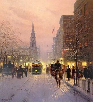 G Harvey - Season of Hope and Joy print of busy city street in winter with church steeple and trolley