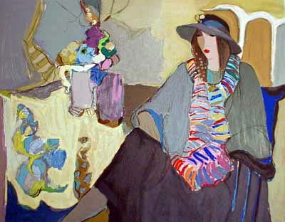 Itzchak Tarkay - Second Thoughts print of seated woman in hat and scarf