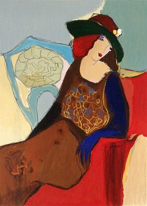 Itzchak Tarkay - Secrets print of woman in hat seated on red chair