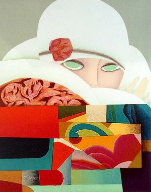 Max Papart - Seduction print of woman in white hat looking ahead with green eyes