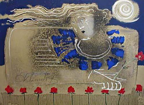 Orlando Agudelo Botero Esperando La Rondalla serigraph of an abstract woman with red flowers