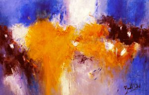 Marcelle Dube Contemporary Abstract Oil Paintings on Canvas of Symphony in Blue and Mustard Yellow