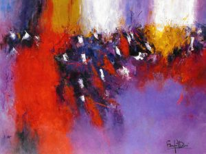 Marcelle Dube Abstract Oil Painting on Canvas in Red and Purple Orchestra Prague