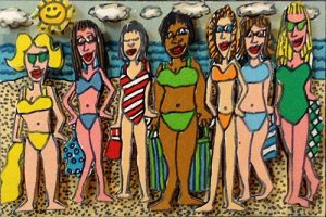 James Rizzi - Seven Heaven print of women at the beach