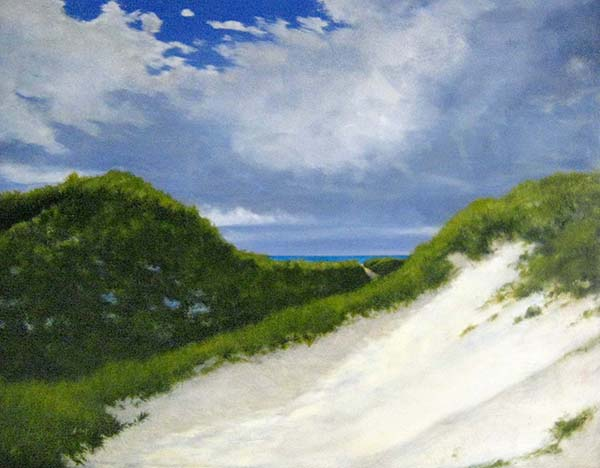Ken Northup Painting of Beach Dune with Green Grass and Blue Sky