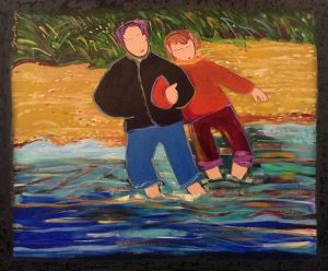 Katherine Porter - Sharing Gentle Waters painting of couple with feet in water