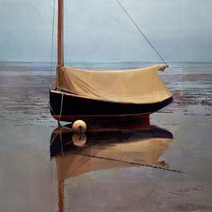 Robert Bolster Painting of a boat on the shore