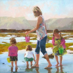 Maryalice Eizenberg Shell Seekers painting of mother and three children at beach