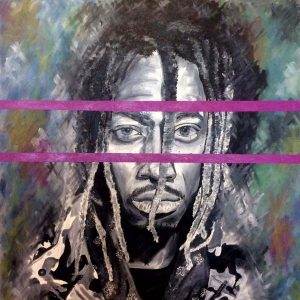 Jack Clifford Oil Portrait Painting of Hip Hop Rapper Future in Grayscale with Purple Conceptual Lines