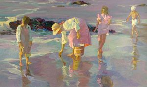 Don Hatfield - Shimmering Sands print of a woman and three children walking on wet sand at the beach